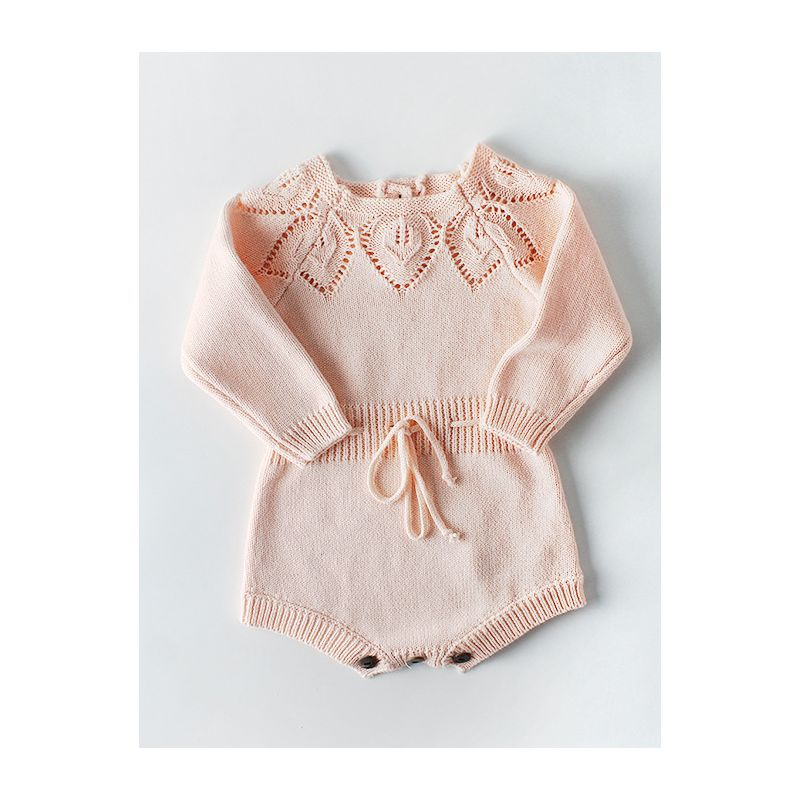 Leaf Crochet Pattern Spanish Style Baby Girl Cotton Romper Bodysuit Pink/White