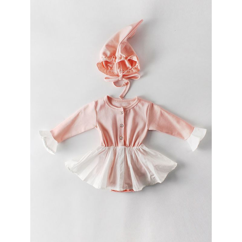 Spanish Style Buttoned Baby Romper Dress Ruffle-cuff with Hat Pink/Gray