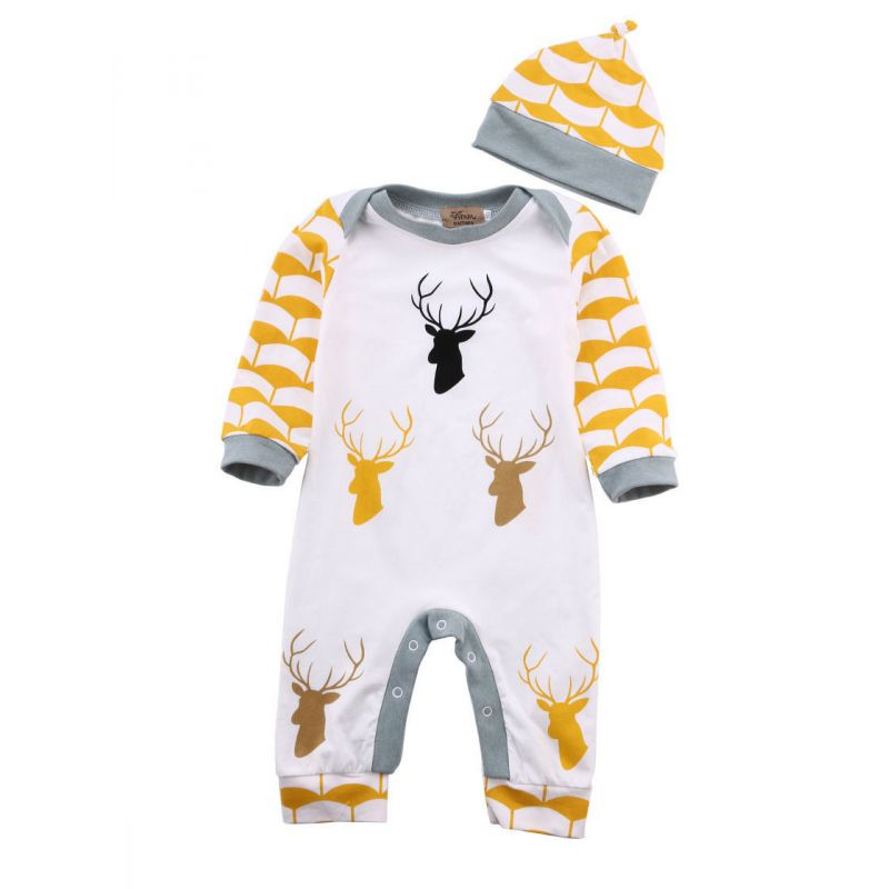 Christmas Deer Baby Boys Girls Romper Coveralls with Hat