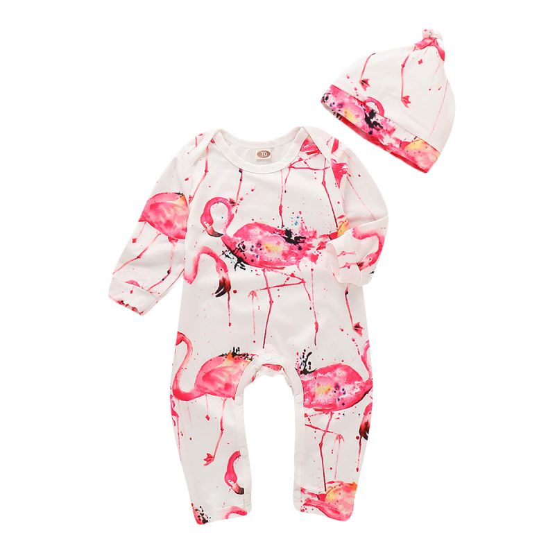 Flamingo Print Infant Boys Girls Overalls Jumpsuit with Hat