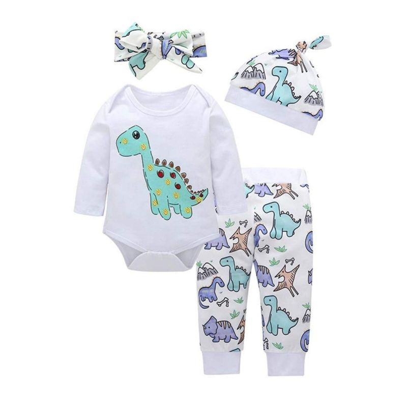 4-piece Cute Cartoon Dinosaur Baby Girl  Bodysuit & Pants Set with Bow Headband + Hat