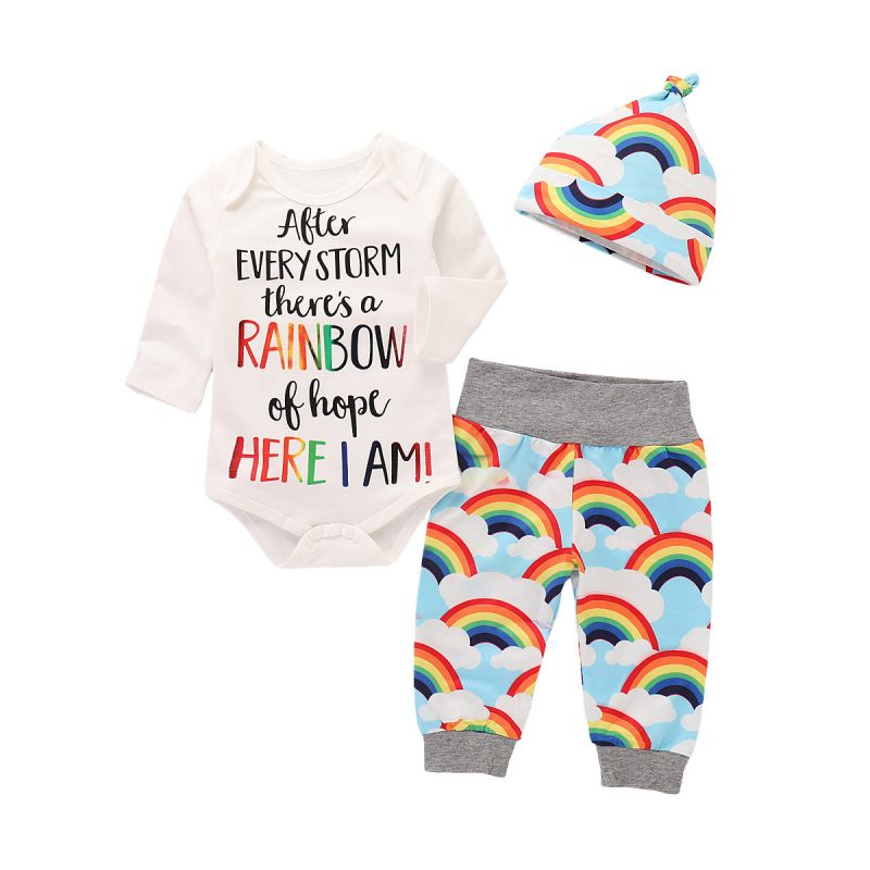 3-piece Baby Girl Boy Letters Print Romper & Rainbow Pants Set with Hat