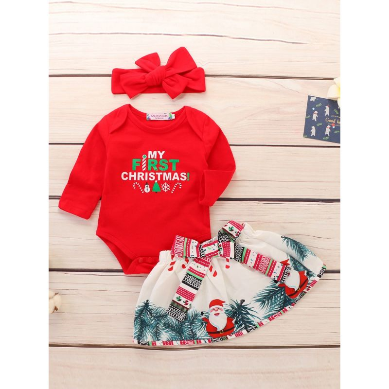 3-piece Baby Girl Christmas Clothes Outfit Set MY FIRST CHRISTMAS Red Bodysuit+Big Bow Santa Mini Skirt+Red Bowknot Headband