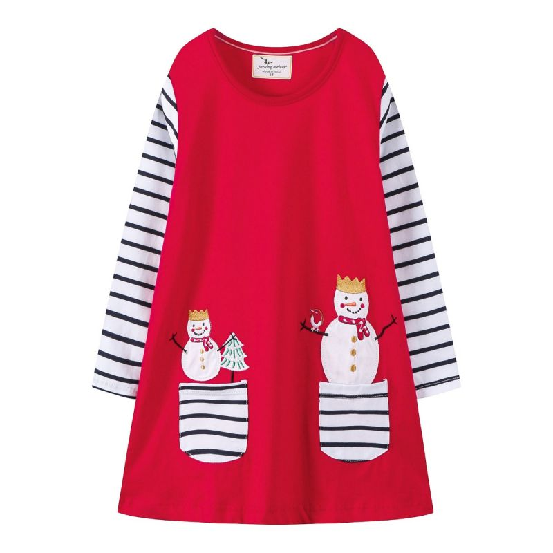 Baby Little Big Girl Snowman-applique Striped Shift Dress Kids Christmas Theme One-piece Dress