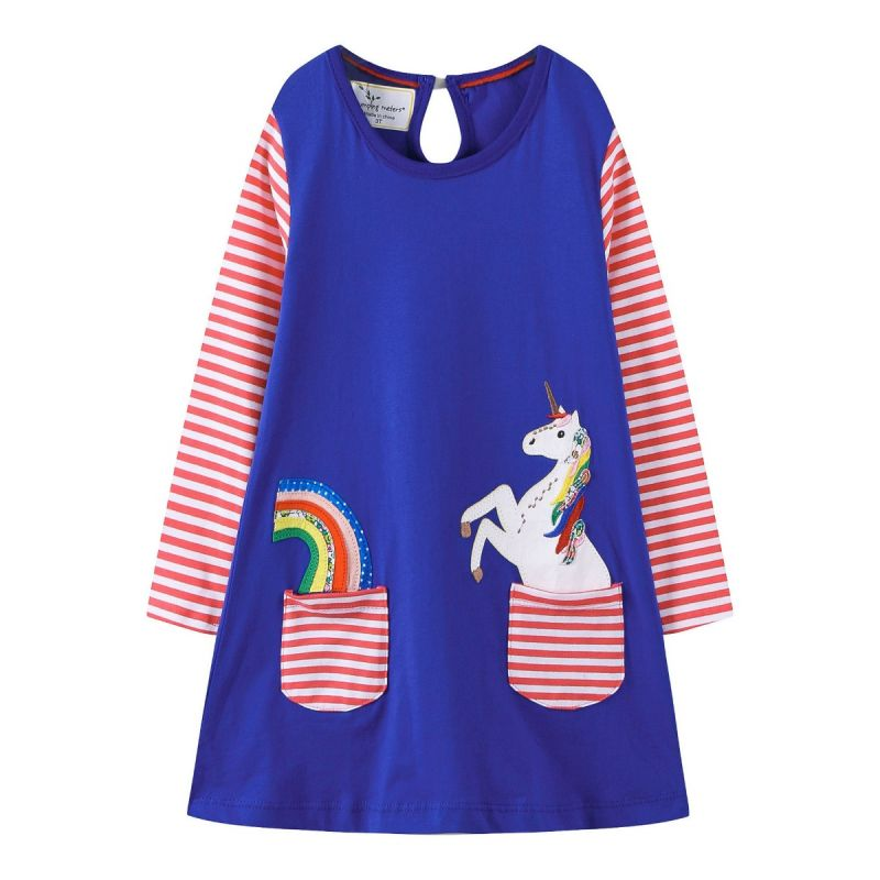 Little Big Girl Rainbow Unicorn Striped Cotton Shift Dress Kids Casual Dress