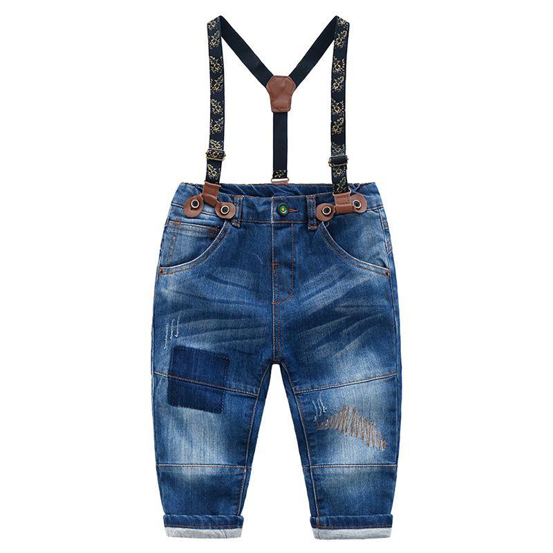 5-Pack Stylish Little Big Boys Denim Bib Overalls Children Thick Warm Winter Suspender Jeans