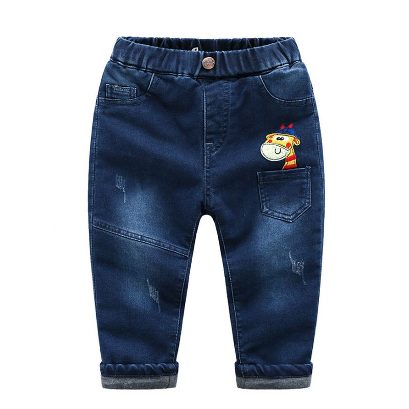 6-Pack Stylish Giraffe Embroidery Thick Denim Pants Toddler Big Boys Winter Jeans