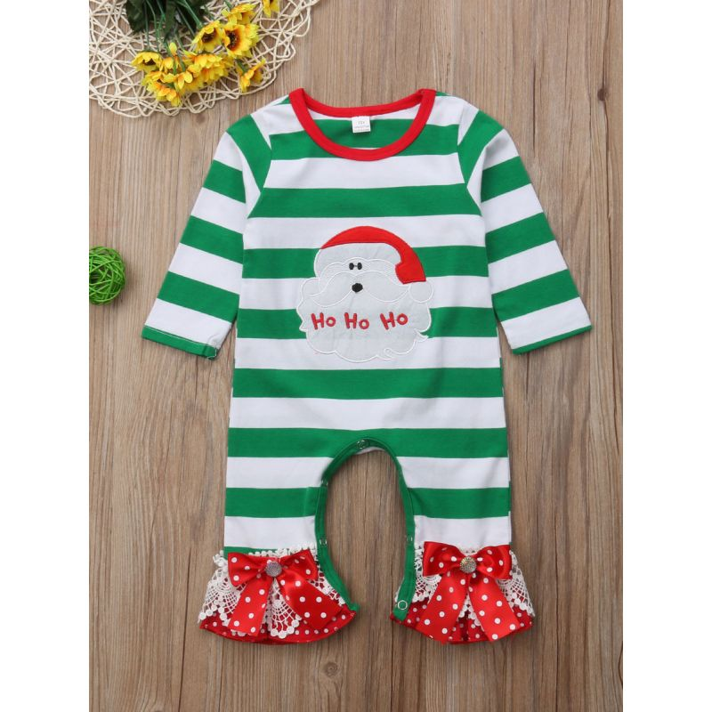 Stylish Baby Girl White & Green Bell-Bottom Jumpsuit Coverall with Bow Lace Trimmed Hem Infant Christmas Clothes