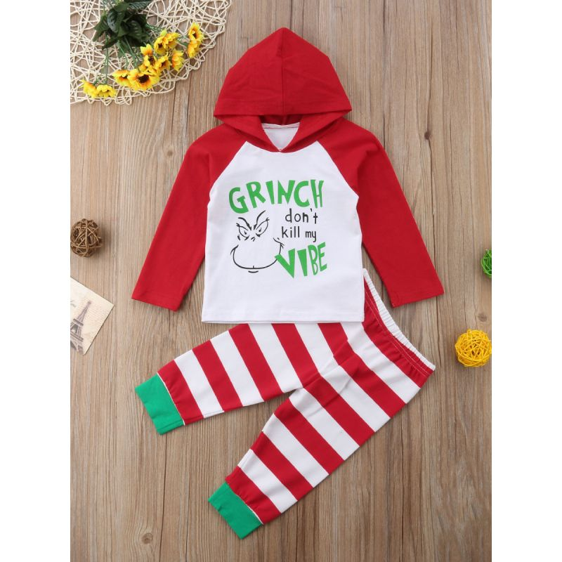 2-Piece Baby Christmas Costume Outfit Set GRINCH DON'T KILL MY VIBE Color-blocking Hoodie Sweatshirt+Striped Trousers