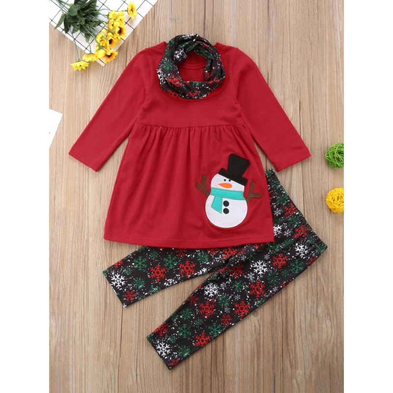 3-piece Baby Toddle Girl Christmas Apparel Set Snowman-applique Red Shirt Top+Snowflake Pants+Scarf