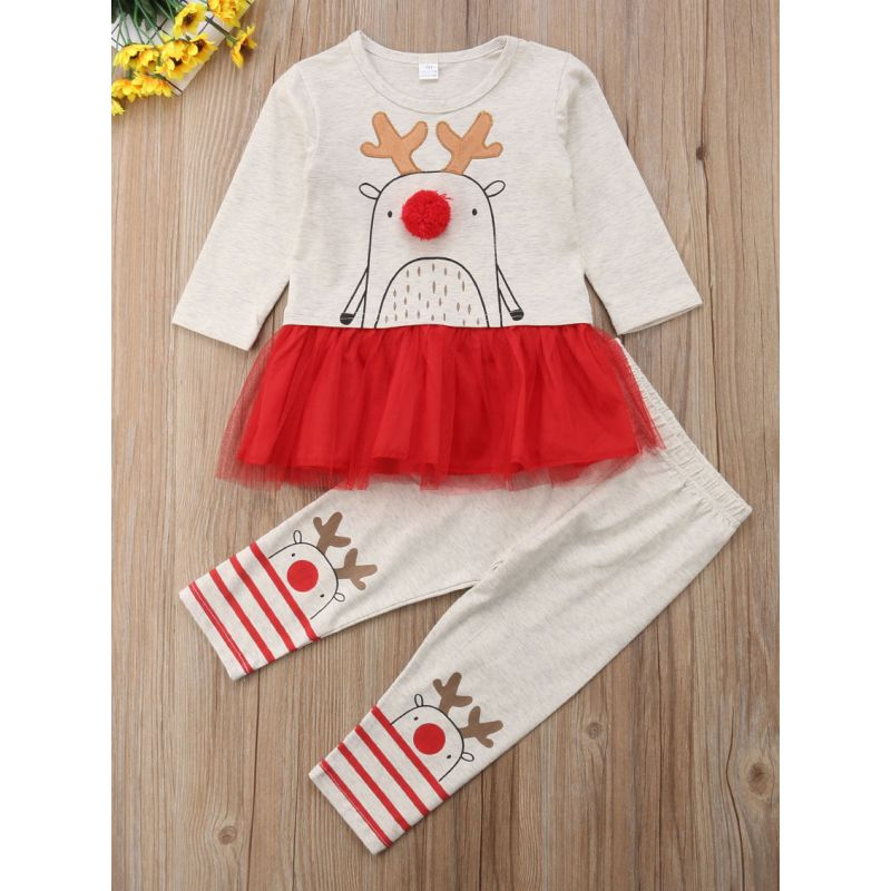 2-piece Baby Little Girl Christmas Reindeer Clothes Outfit Set Mesh Patchwork Pullover+Reindeer Pants