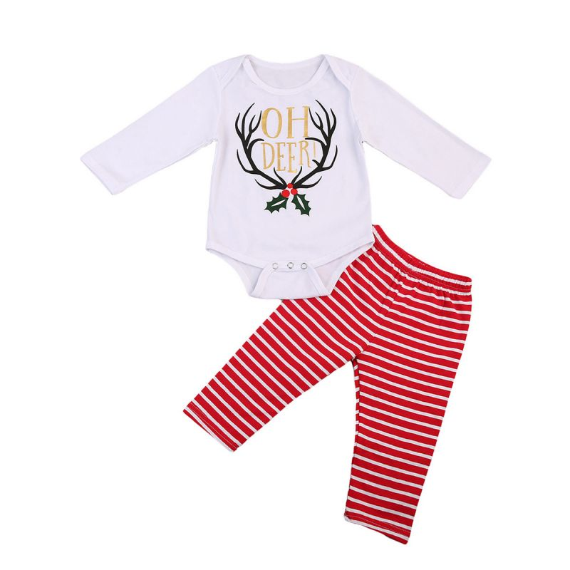 2-Piece Baby Boys Girls Xmas Clothing Outfit Set Christmas Deer Theme Bodysuit+Red & White Striped Pants