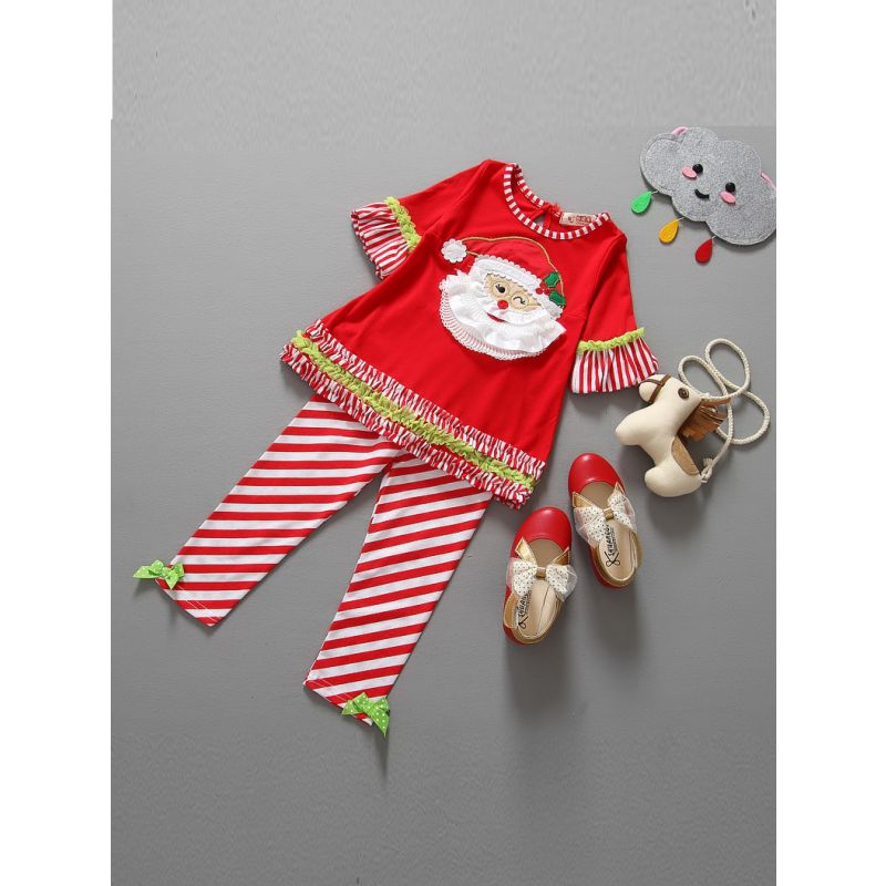 2-piece Infant Toddler Girl Christmas Costume Outfit Set Ruffled-Hem Bell Sleeve Santa-applique Shirt +Bow Red Striped Pants