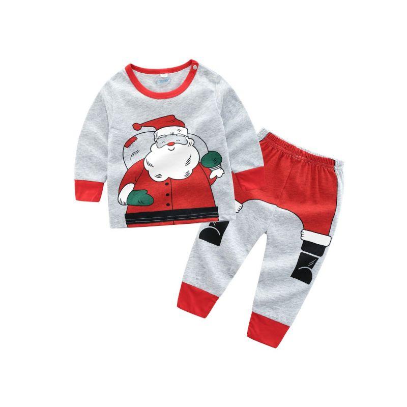 2-piece Baby Boys Girls Christmas Tracksuit Santa Sweatshirt+Pants