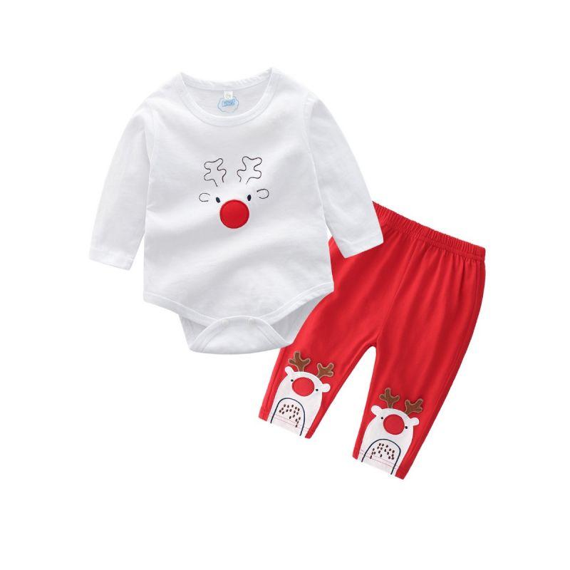 2-piece Unisex Baby Xmas Romper Pants Set Reindeer Romper+Long Pants