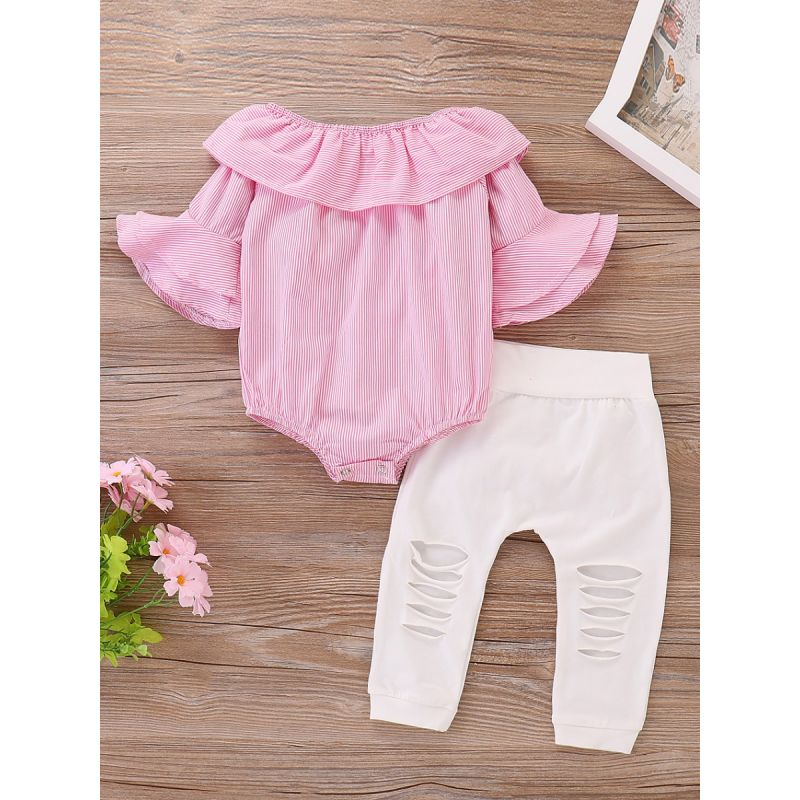 2-Piece Fashion Baby Girl Summer Clothes  Outfit Set Pink Striped Bell Sleeve Romper +White Frayed Pants