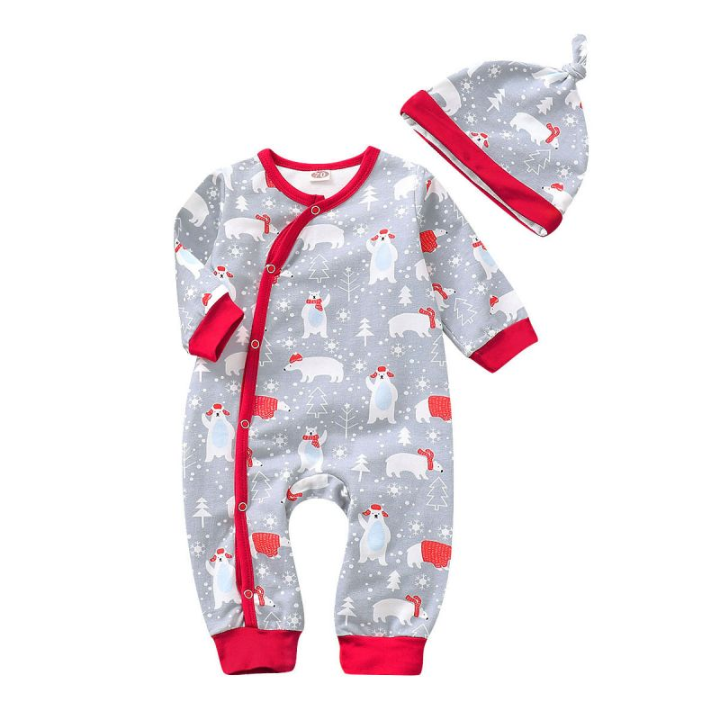Cute Baby Boys Girls White Bear Christmas Theme Buttoned Romper Jumpsuit with Hat