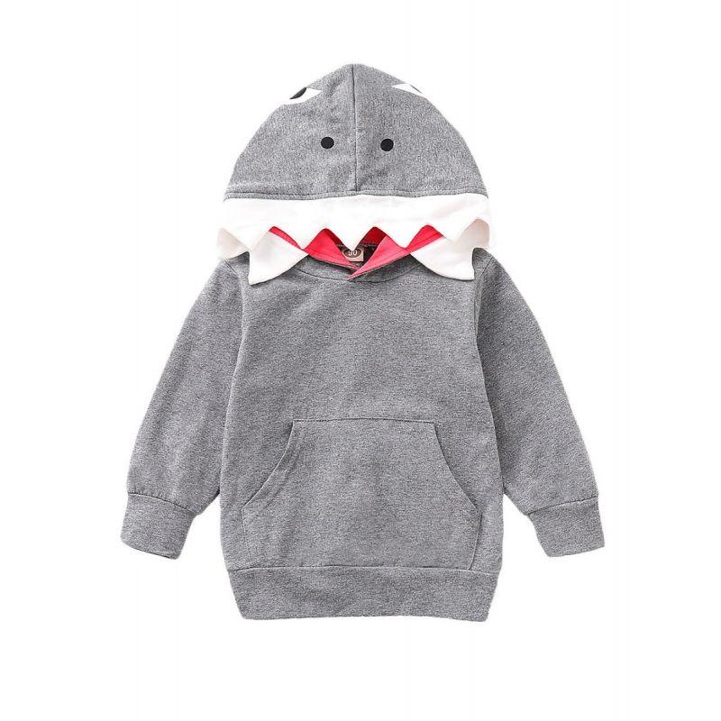 Toddler Kids Shark Style Hoodie Sweatshirt with Kangaroo Pocket
