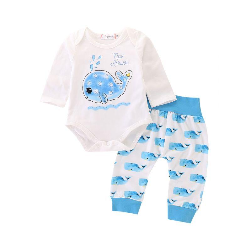 2-piece Spring Autumn Cute Infant Dolphin Bodysuit & Pants Set