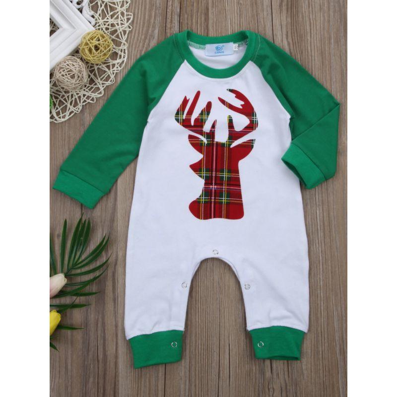 Cute Unisex Baby Boys Girls Christmas Reindeer Color Blocking Cotton Romper Jumpsuit