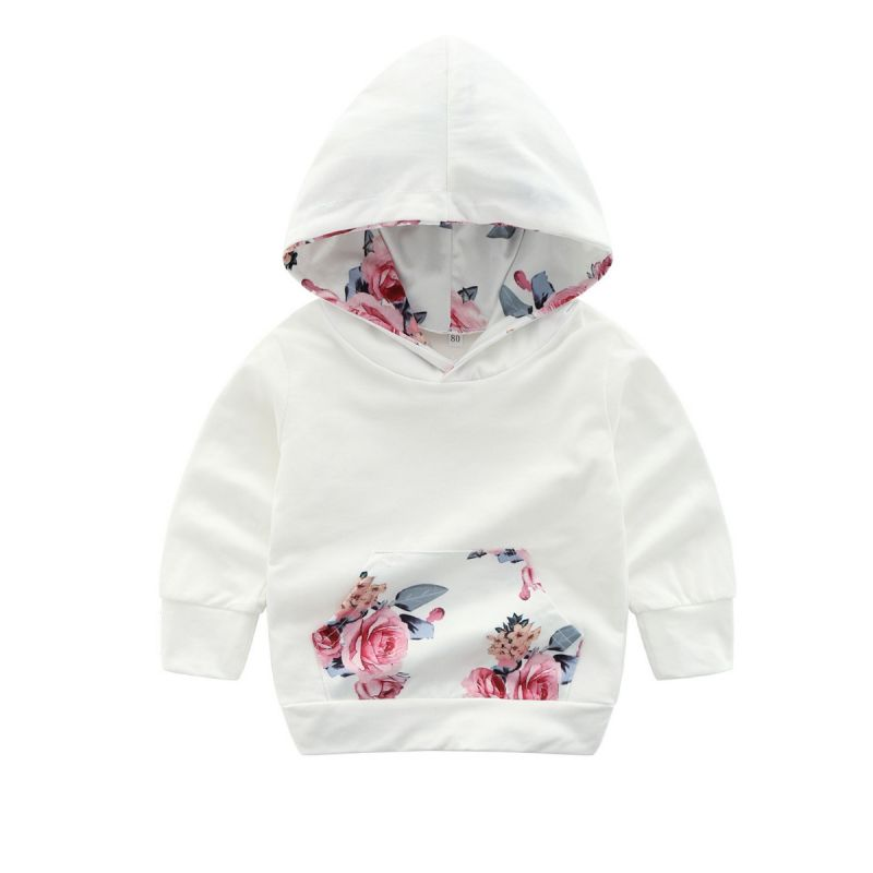 Baby Girl Floral Hoodie Sweatshirt with Kangaroo Pocket for Spring Fall