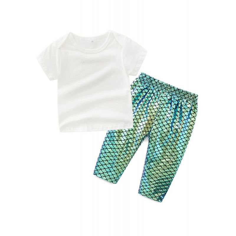 2-piece Infant Girl Summer Clothes Outfit Set White Short Sleeve T-shirt+Fish Scale Style Shiny Pants