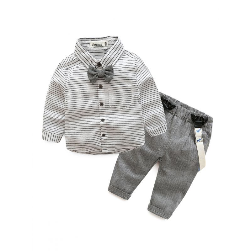 4-Piece Fashion Babywear Outfit Set Star Long Sleeve Striped Button Down Shirt+Adjustable Shoulder Straps Pants+Bow Tie