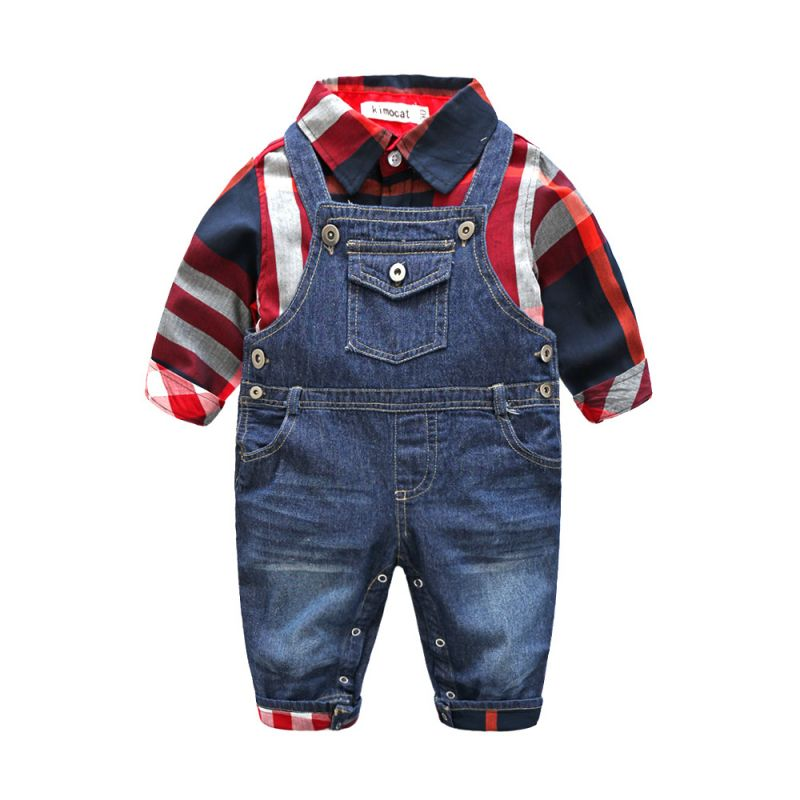 2-piece Baby Boy Shirt & Overalls Outfit Set Checked Shirt+Denim Bib Overalls with Pockets