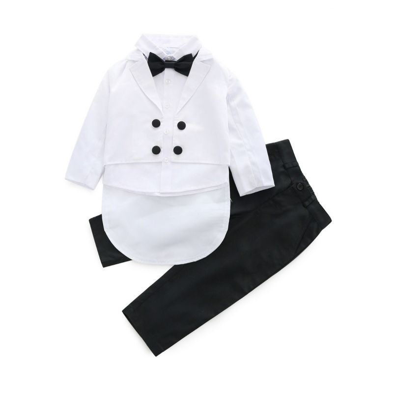 4-piece Gentlemen Baby Little Boys Wedding Party Suits Set Waistcoat+Swallow Tailed Coat+Pants+Bow Tie