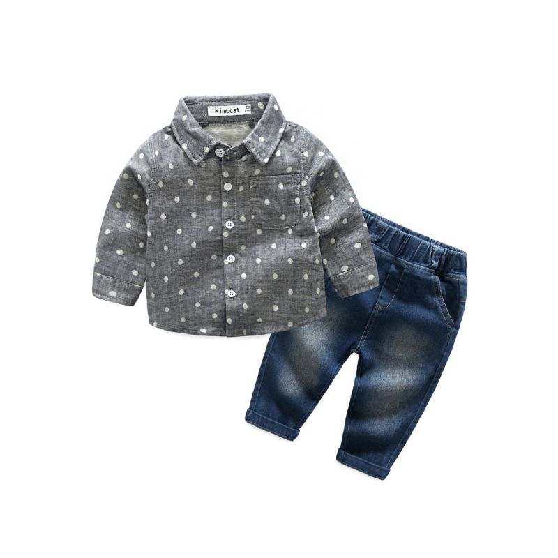 2-piece Baby Boys Shirt & Pants Outfit Set Polka Dots Shirt+Jeans