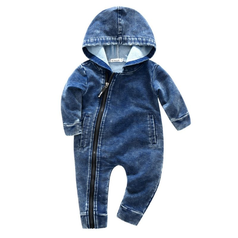 Bias Tape Zipper Hooded Baby Boy Jumpsuit Coverall