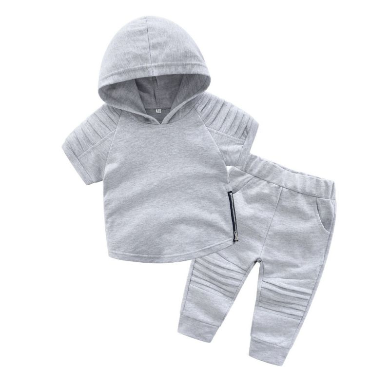 2-piece Baby Little Kids Summer Casual Clothes Outfit Set Short Sleeve Hoodie+Pants