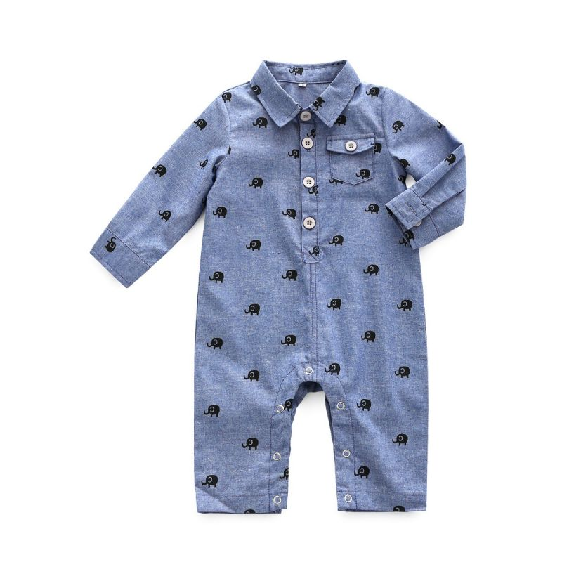 Cute Infant Boys Elephant Buttoned Jumpsuit Coverall