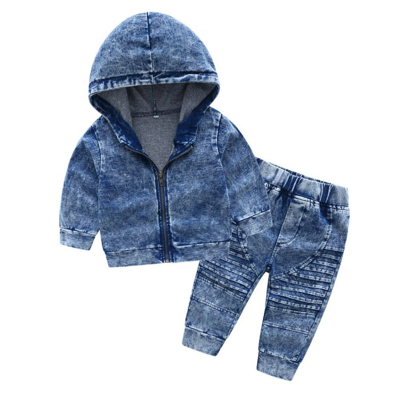 2-piece Fashion Baby Little Boys Knit Denim Clothes Outfit Set Hoodie Zip Jacket+Striped Jeans