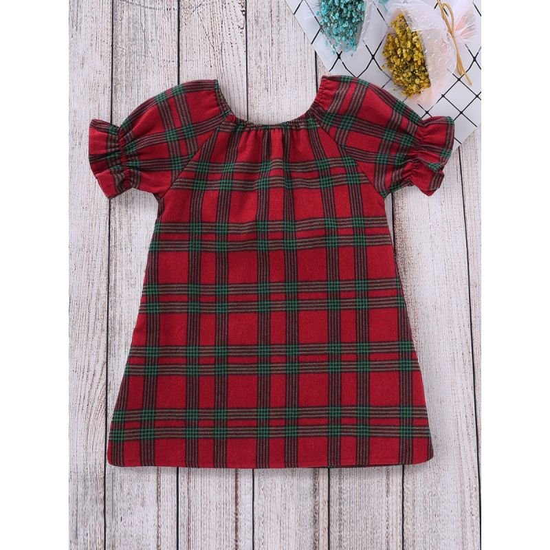 Classic Baby Toddler Big Girl Checked Shift Dress with Ruffled-cuff Kids Summer Casual One-piece Dress