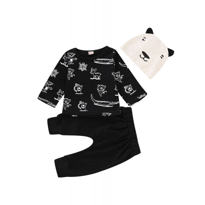 3-piece Cartoon Animal Style Baby Casual Clothes Outfit Set Cartoon Animal T-shirt+Black Pants+Bear Ear Hat