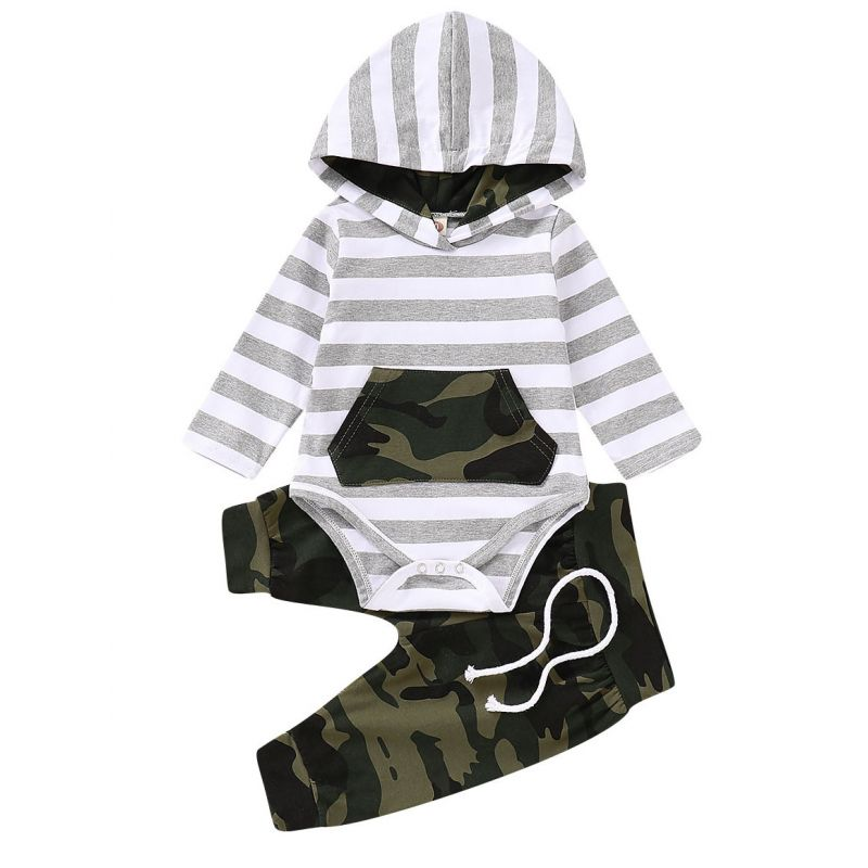 2-piece Newborn Baby Bodysuit Pants Outfit Set Striped Hoodie Bodysuit with Kangaroo Pocket+Camouflage Casual Pants