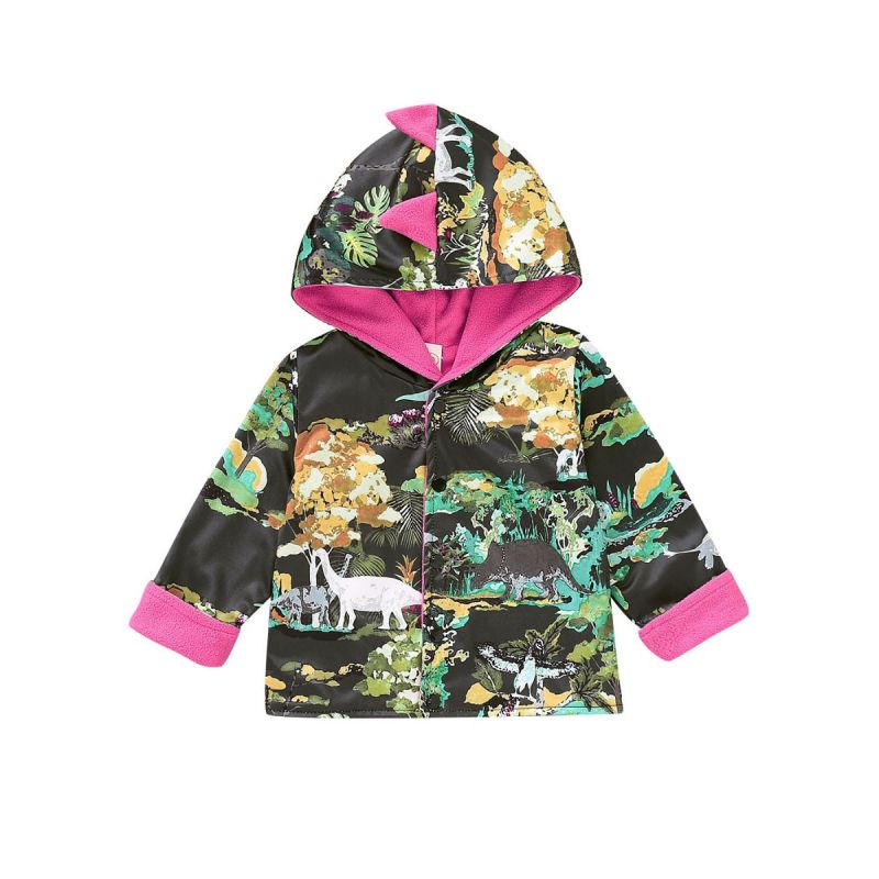 Baby Toddler Kids Cartoon Dinosaur Fleece-lined Buttoned Hooded Jacket Coat for Winter