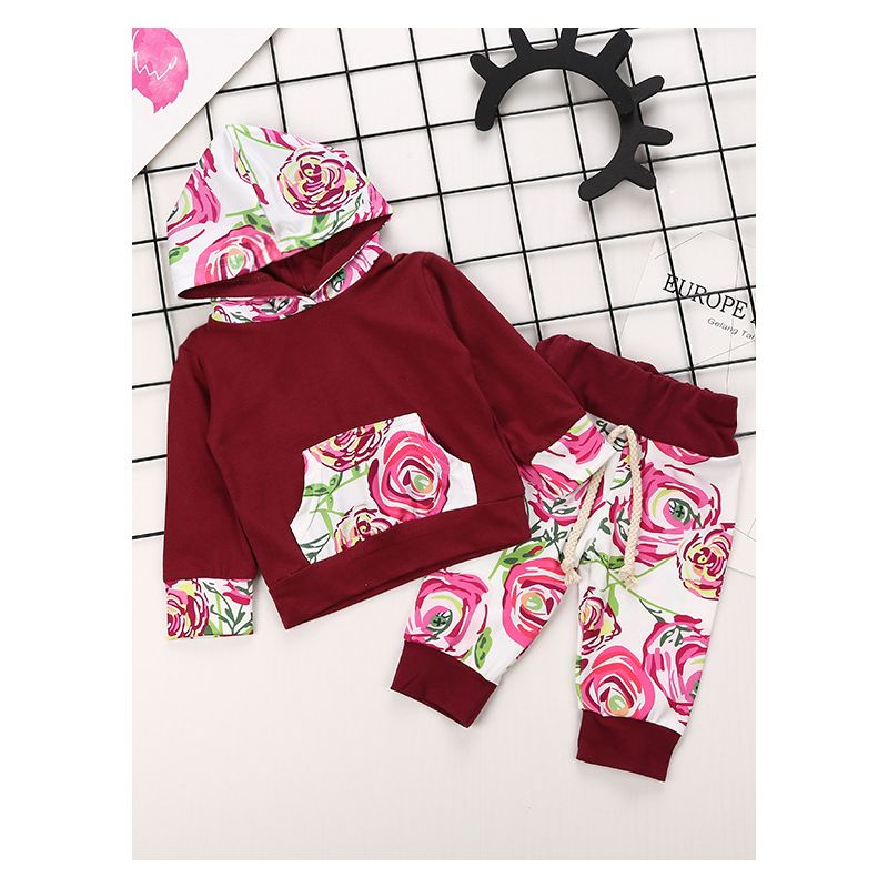 2-Piece Infant Girl Cotton Casual Clothes Outfit Set Flower Hoodie Jumper+Floral Pants