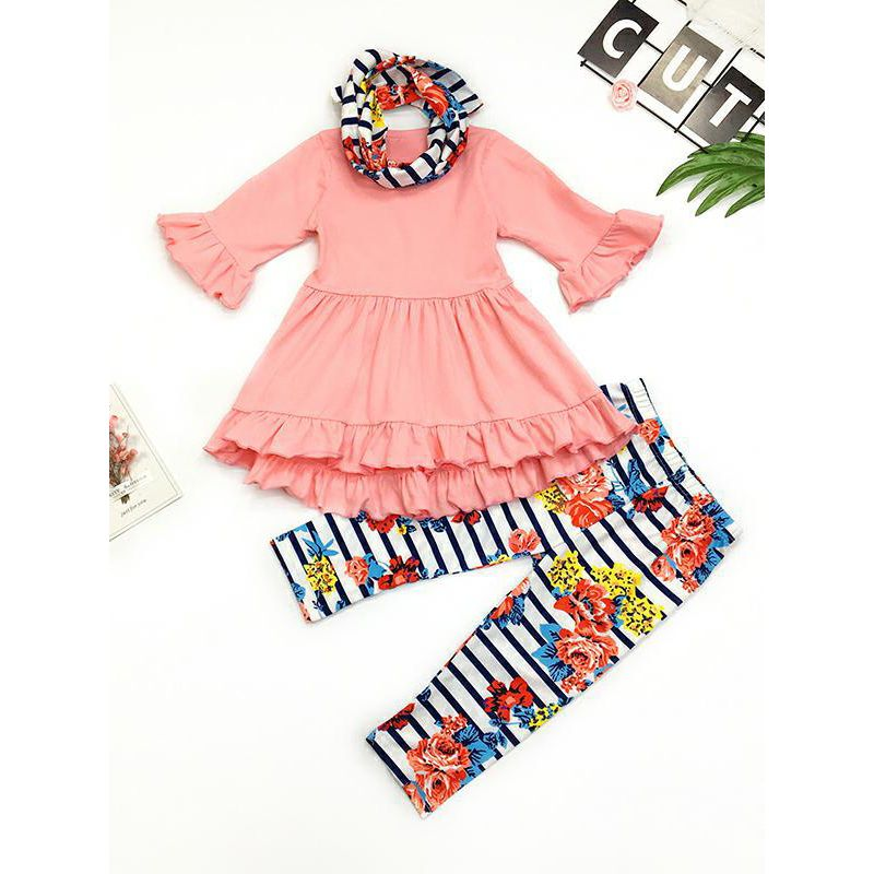 3-piece Baby Little Big Girl Top & Pants &Headband Set Ruffled Pink Dress Top+Striped Floral Pants+Flower Headband