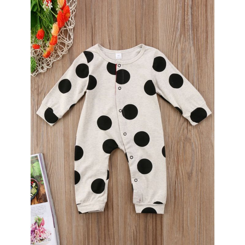Polka Dots Baby Romper Buttoned Cotton Overalls