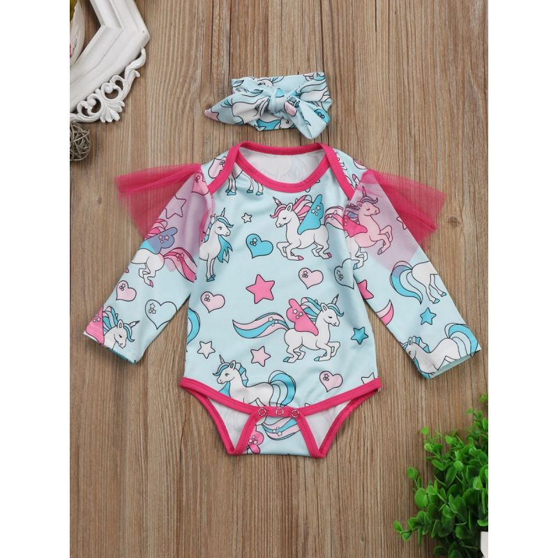 Mesh Flutter Sleeve Unicorn Baby Romper Bodysuit with Bow Headband