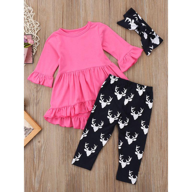 3-piece Infant Little Big Girl Top & Pants &Headband Set Ruffled Dress Top+Deer Legging Pants+Bow Headband