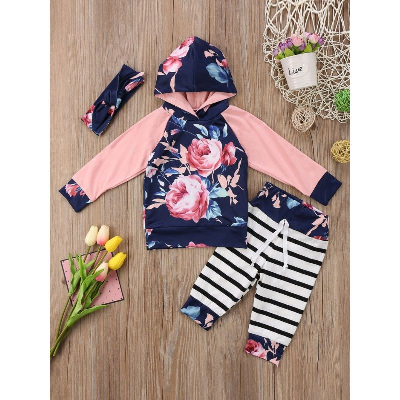 3-piece Baby Girl Casual Apparel Outfit Set Floral Hoodie Sweatshirt with Kangaroo Pocket+Striped Pants+Headband
