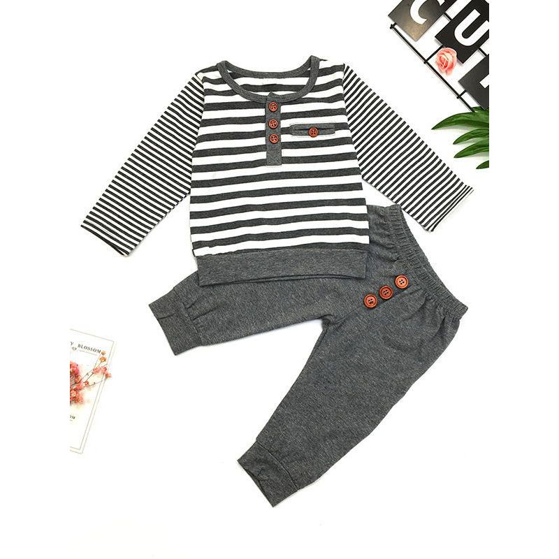 2-Piece Baby Boy Cotton Casual Clothes Outfit Set Striped Pullover Tee+Grey Pants