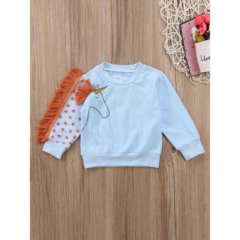 Fashion Little Big Girl Tassels Trimmed Unicorn Jumper Sweatshirt