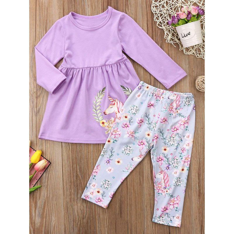 2-piece Little Big Girl Casual Cotton Top & Pants Outfit Set Unicorn Purple Shift Dress+Floral Leggings Pants