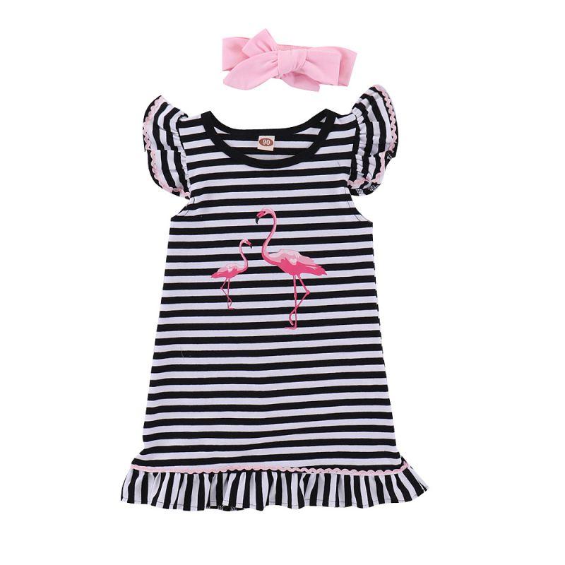Flamingo Striped Flutter Sleeve Little Big Girl Summer Shift Dress with Pink Bow Headband
