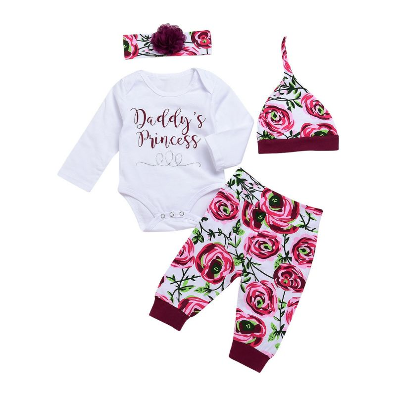 4-piece Newborn Baby Girl Clothes Outfit Set DADDY'S PRINCESS Bodysuit+Flower Pants+Flower Hat+Headband