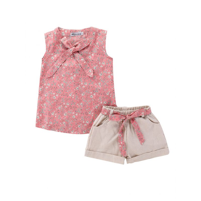 2-Piece Baby Little Girl Summer Clothes Outfit Set Floral Bow Sleeveless T-shirt+Shorts